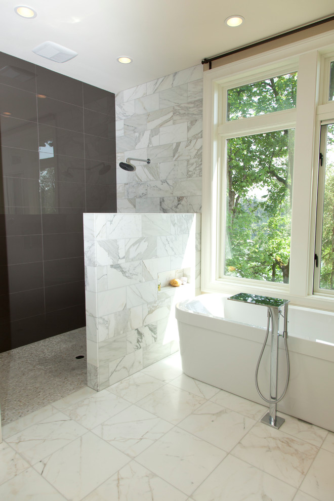 Doorless Shower Bathroom Contemporary with Bath Tub Calacatta Marble Freestanding Tub Glass