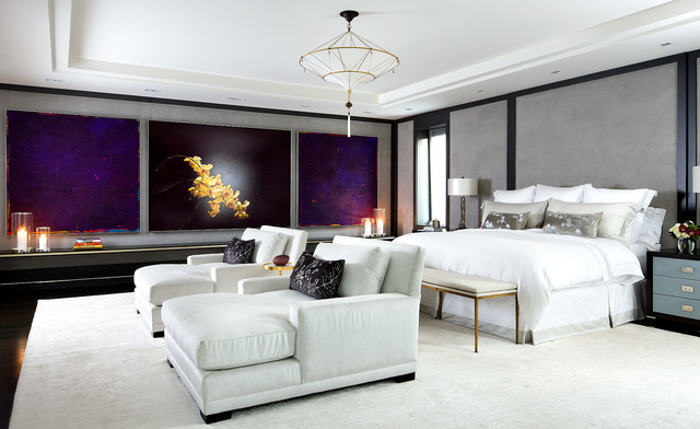 double chaise lounge indoor Bedroom Contemporary with blue and black bedside tables gray fabric walls large