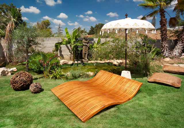 Double Chaise Lounge Indoor Landscape Eclectic with Banana Trees Chaise Lounge Floor Cushions Garden Art Grass