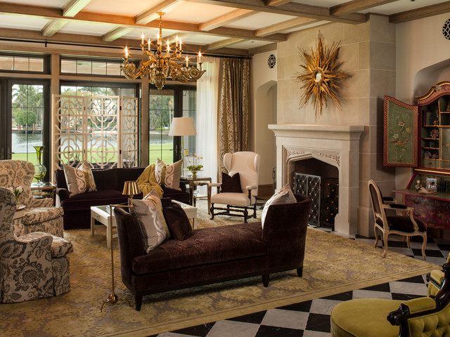 Double Chaise Lounge Indoor Living Room Victorian with Beamed Ceiling Chandelier Checkerboard Floor Coffered Ceiling French Doors