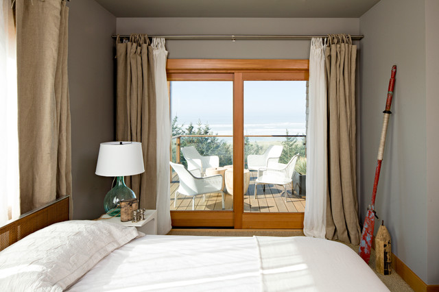 Double Curtain Rods Bedroom Beach With Beach Home Bedroom  Buoy Burlap Drapes Deck Demijohn Glass