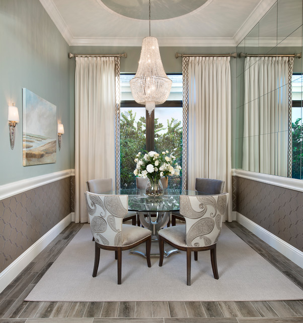 Double Curtain Rods Dining Room Transitional With Area Rug Calming Spaces Casual Elegance Chandelier Comfortable