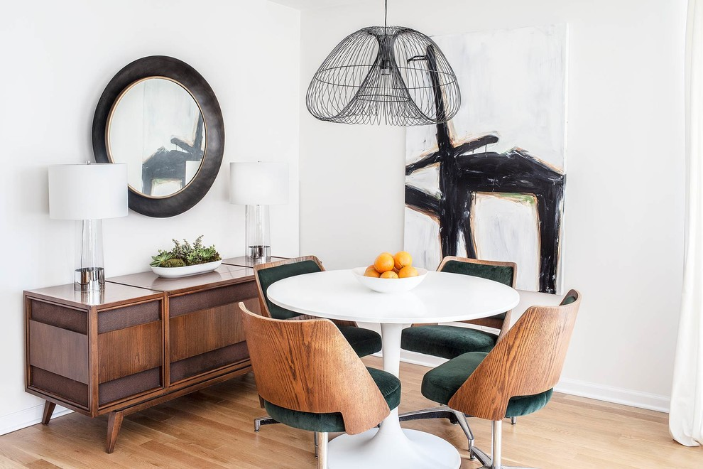 Double Pedestal Dining Table Dining Room Contemporary with Abstract Painting Bed Chicago Grey Interior Marcel