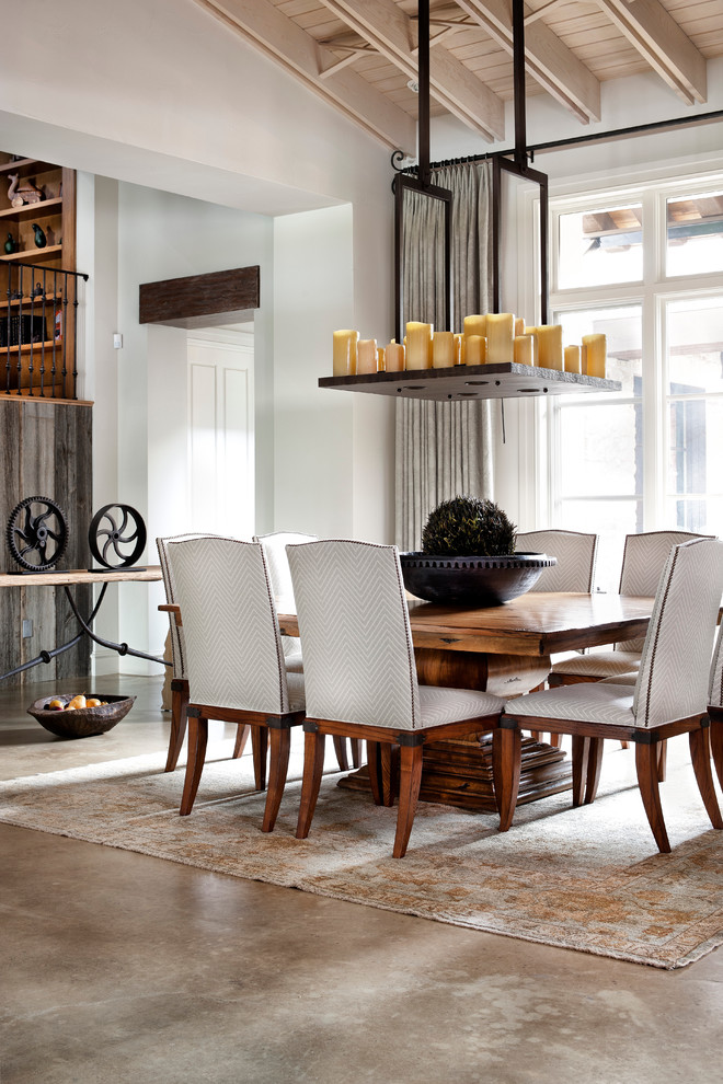 double pedestal dining table Dining Room Traditional with area rug candle chandelier chevron concrete floor
