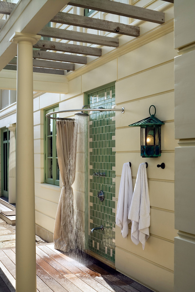 double-shower-curtain-rod-Patio-Beach-with-curved-shower-curtain ...