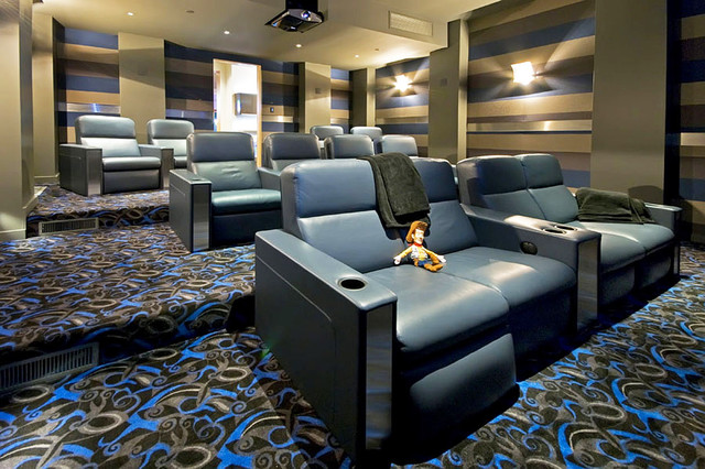 Double Sided Carpet Tape Home Theater Contemporary with Blue Blue Leather Graphic Pattern Carpet Home Theater Leather