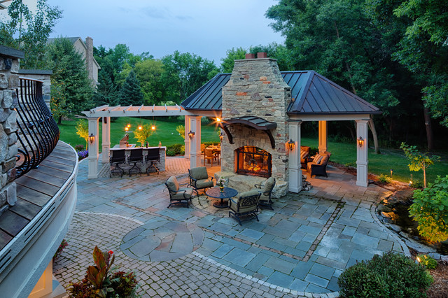 Double Sided Carpet Tape Patio Traditional with Copper Roof Gas Lanterns Granite Counter Top Low Voltage