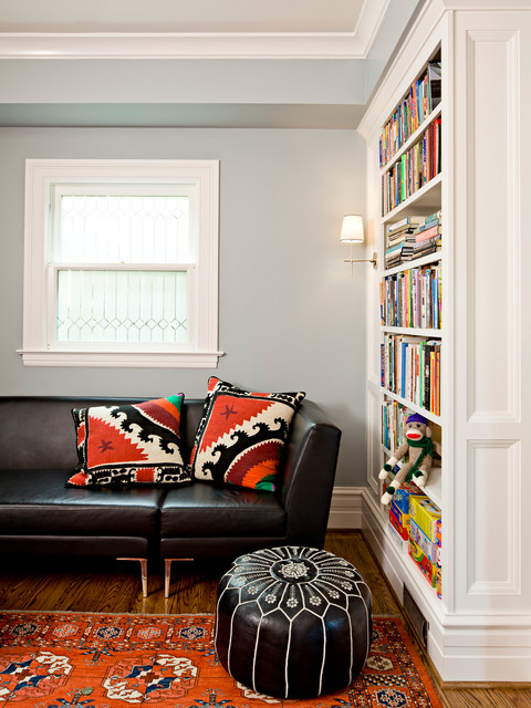 Down Pillow Inserts Family Room Traditional with Black Leather Sofa Bookshelf Colorful Rug Leaded Glass Leather