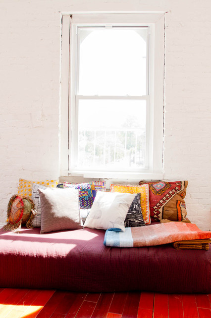 Down Pillow Inserts Living Room Eclectic with Brick Wall Day Bed Decorative Pillows Global Prints Loft