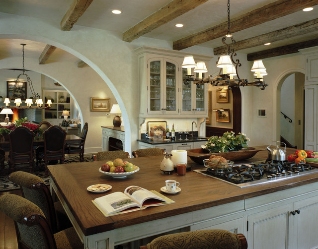 Downdraft Cooktop Kitchen Rustic with Arch Breakfast Bar Ceiling Lighting Chandelier Eat in Kitchen