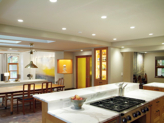 downdraft range Kitchen Rustic with bar built ins cabinet lighting ceiling lighting cooktop Dining