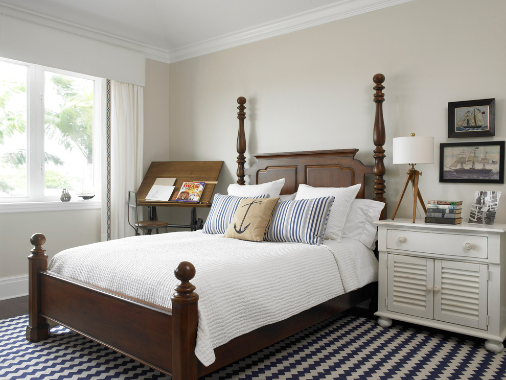 Drafting Lamp Bedroom Traditional with Area Rug Bedding Dark Wood Bed Drafting