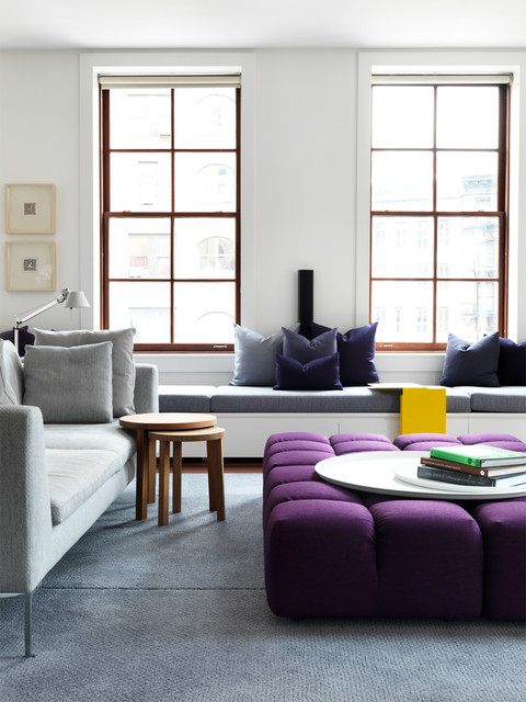 Drafting Stools Living Room Contemporary with Blue Rug Built in Bench Converted Warehouse Light Gray