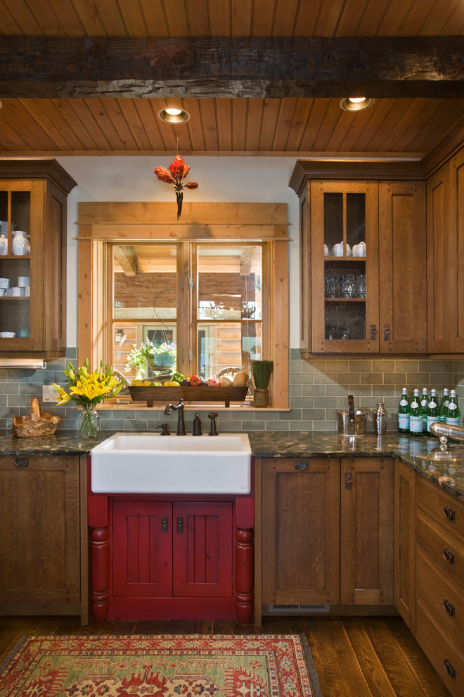 Drainboard Sink Kitchen Rustic with Early American Glass Front Cabinets Lake Home Lake
