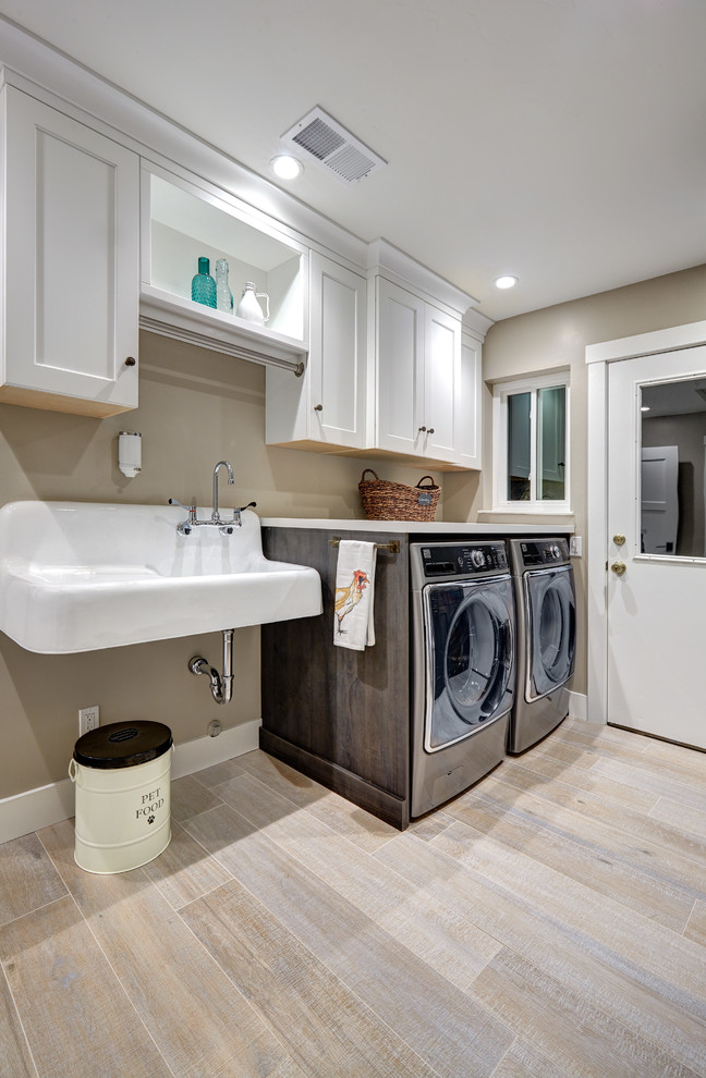 Drainboard Sink Laundry Room Farmhouse with Recessed Lighting Trash Can Wall Mounted Sink