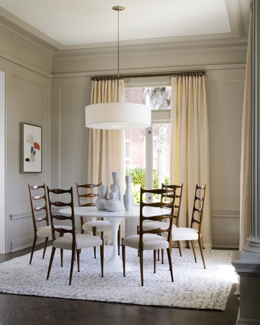 Drapery Rings Dining Room Contemporary with Area Rug Breakfast Table Casement Windows Centerpiece Ceramics Chairs
