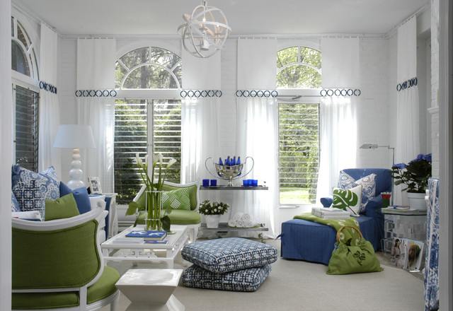 Drapery Rings Family Room Contemporary with Beach Cottage Nautical Coastal Cozy Blue Chairs Blue Tufted