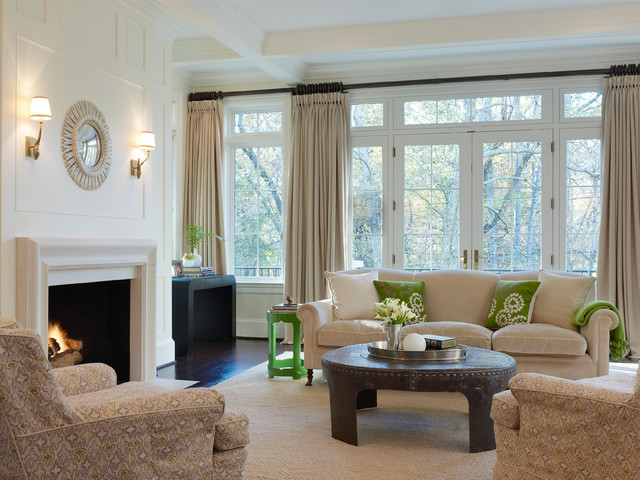 Drapes vs Curtains Family Room Contemporary with Airy Arm Chair Character Grade White Oak Floor Coffee