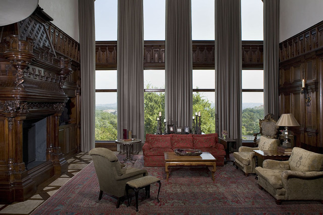 Drapes vs Curtains Family Room Traditional with Antique Fireplace Surround Antique Rug Area Rug Cashmere Cashmere
