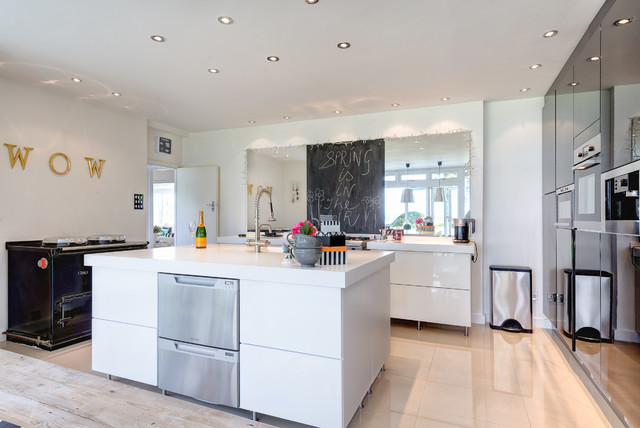 Drawer Dishwashers Kitchen Contemporary with 1930s Beach Style Black Black White Bucket Chairs Chalkboard