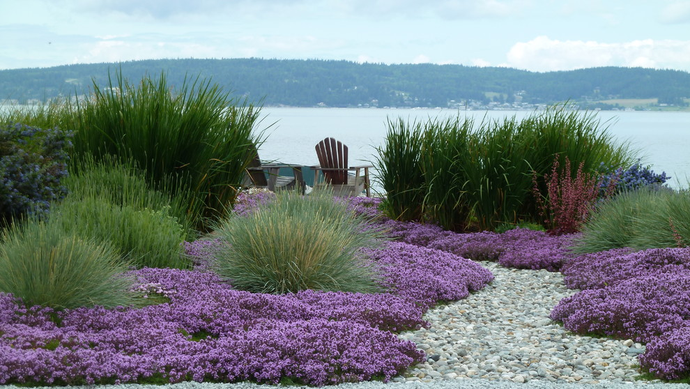 Drought Resistant Landscaping Landscape Beach with Adirondack Chairs Coastal Dry Creek Dry River