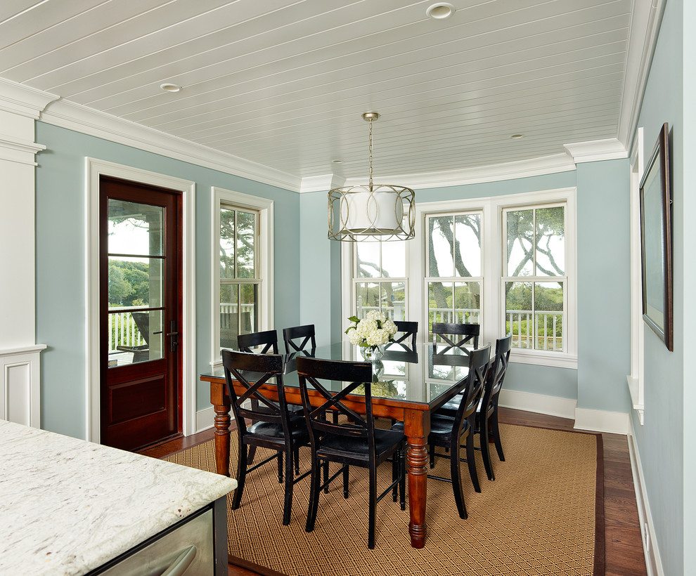 Drum Light Fixture Dining Room Tropical with Baseboard Black Dining Chairs Crown Molding Dark