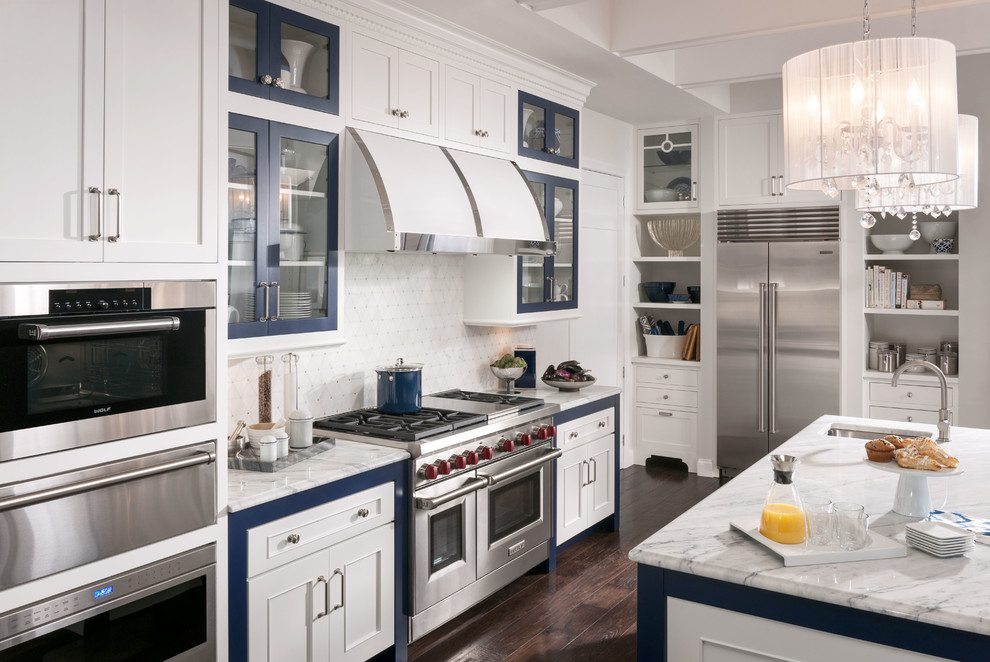 Drum Shade Chandelier Kitchen Traditional with Beamed Ceiling Blue and White Drum Shade1