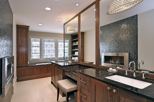 Drum Shade Pendant Bathroom Transitional with Black Countertops Custom Wood Cabinets Double Sinks Drum Shade1