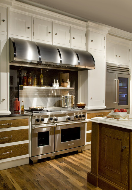 Ductless Range Hood Kitchen Traditional with Black Hood Kitchen Island Marble Salvaged Wood Stainless Steel