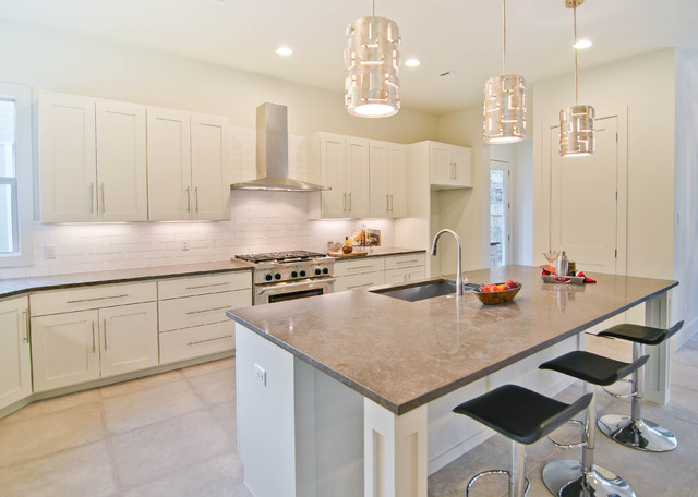 Ductless Range Hood Kitchen Transitional with Backsplash Counter Stools Gray Counters Hood Island Pendant Lamps