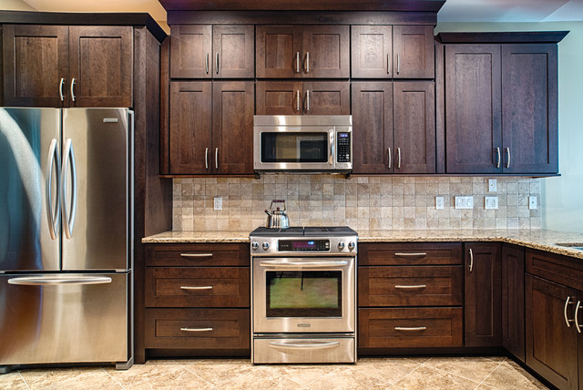 Duraceramic Kitchen Traditional with Angle Outlet Cabinet Design Cambria Cherry Cabinets Dark Cabinets