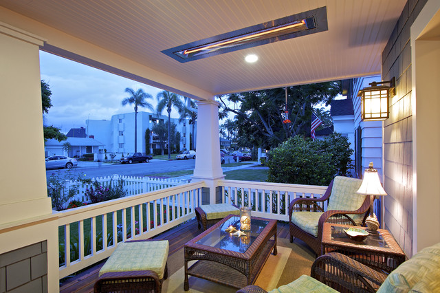 Duraflame Electric Heater Porch Traditional with Bead Board Ceiling Seat Cushions Shingles Tapered Columns Wall