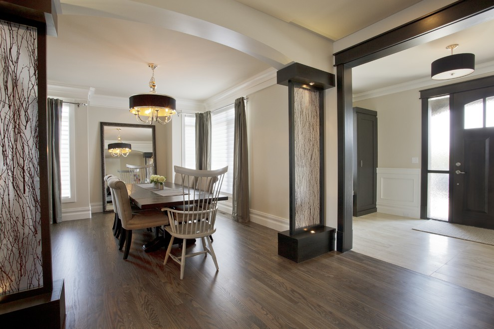 Duraseal Stain Dining Room Transitional with Accent Lighting Arch Entryway Art Columns Art1