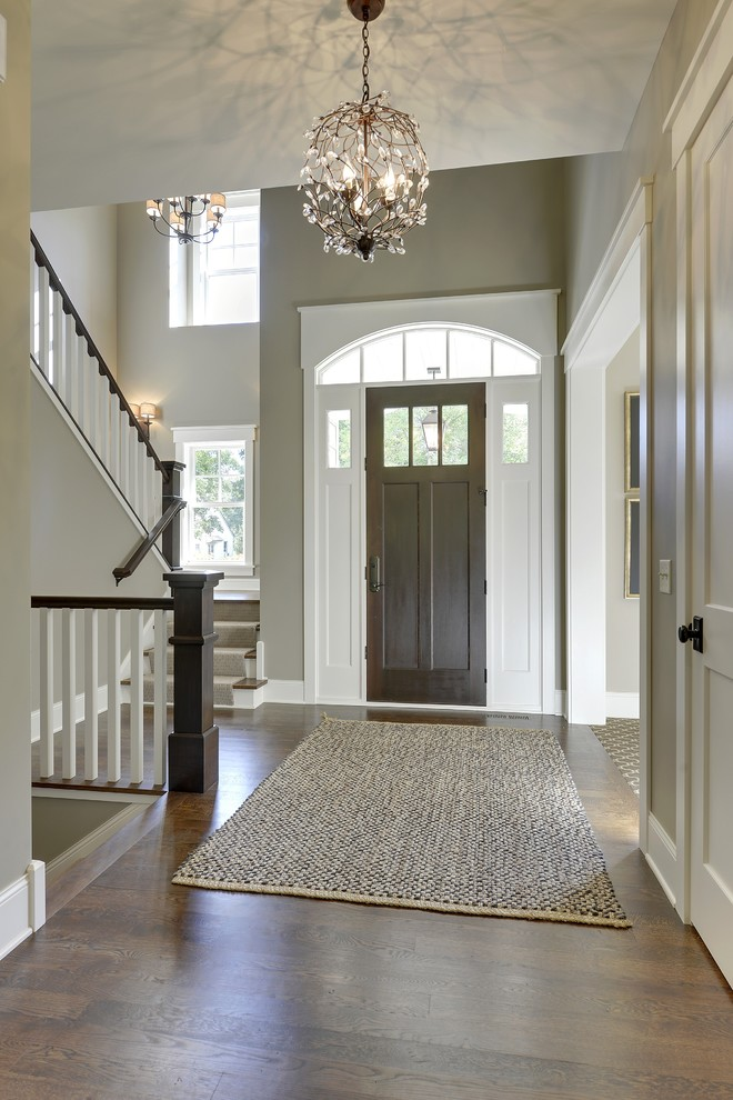 Duraseal Stain Entry Traditional with Arched Window Capped Baseboard Dark Wood Door1