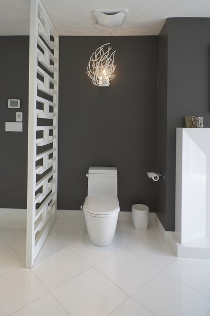 Duravit Toilet Bathroom Contemporary with Branches Ceiling Fan Charcoal Walls Fireplace Fretwork Tile Baseboard