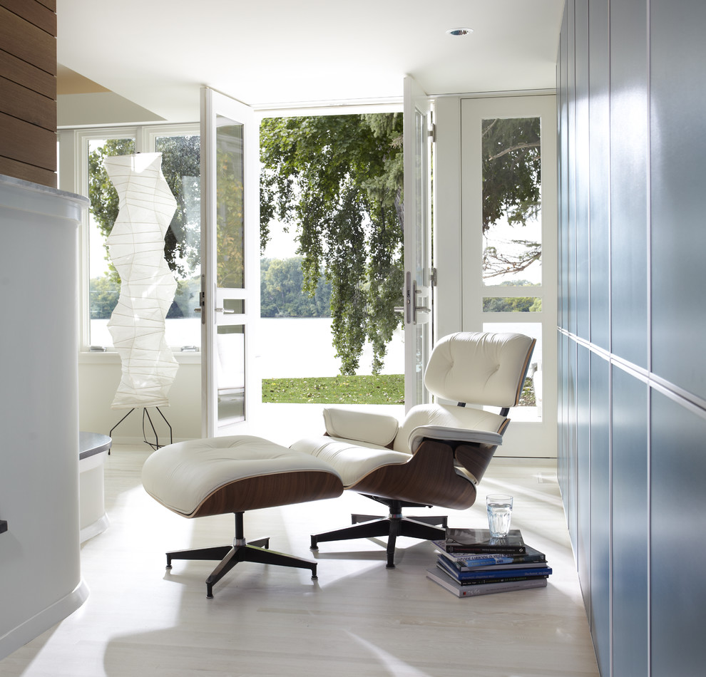 Eames Lounge Chair Hall Modern with Floor Lamp French Doors Lawn Lounge Chair