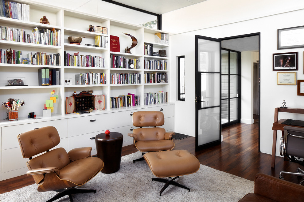 Eames Lounge Chair Home Office Contemporary with Black Door Trim Black Frames Black Window