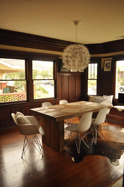 Eames Molded Plastic Chair Dining Room Midcentury With Chunky Wooden Table  Cowhide Crafts Crown Molding Dining Table