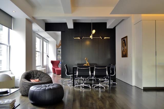Eames Office  Chair Dining Room Eclectic With Black Black Leather Pouf Dining Table Eames  Office Chair
