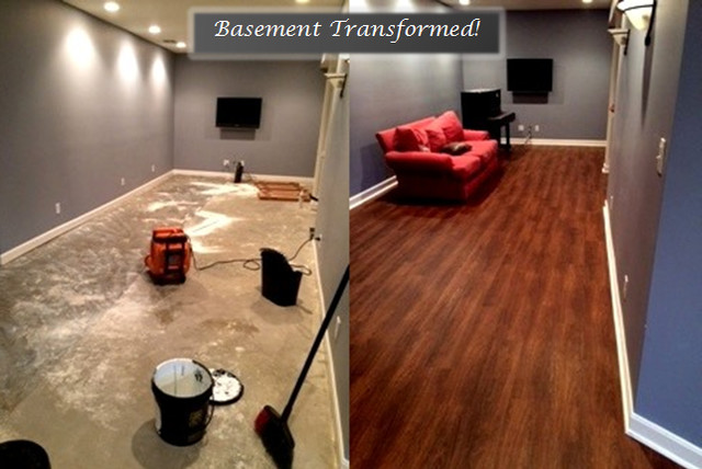 Earthwerks Flooring Spaces Contemporary with Basement Before and After Vinyl Plank Flooring