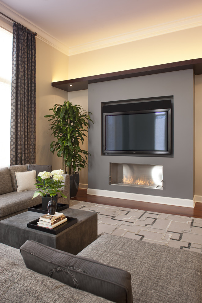 ecosmart fire Family Room Contemporary with area rug backlighting baseboards corner sofa cove