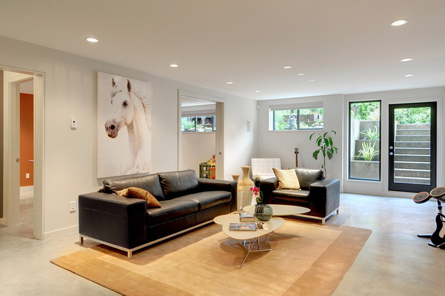 Egress Window Cost Living Room Contemporary with Area Rug Black Couch Ceiling Lighting Coffee Table Cluster