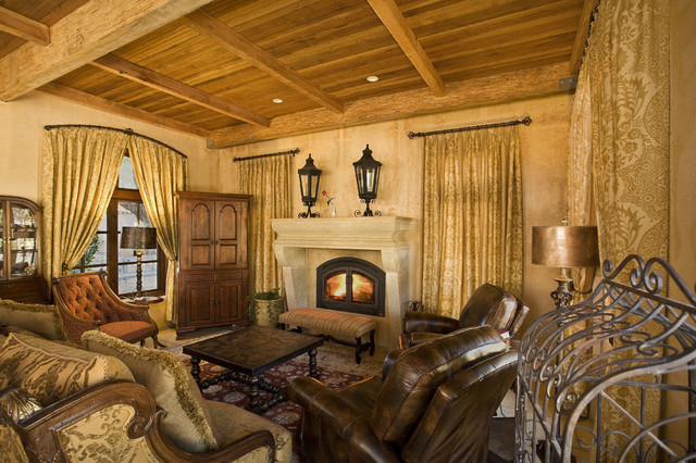 Electric Fireplace Insert Living Room Mediterranean with Area Rug Carved Stone Fireplace Coffee Table Curtains Damask
