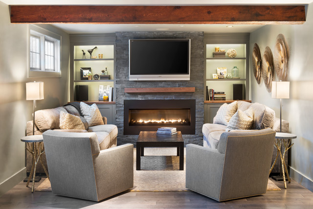 Electric Fireplace Insert Living Room Traditional with Black Coffee Table Bronze Built in Shelves Builtins Cabinets Custom