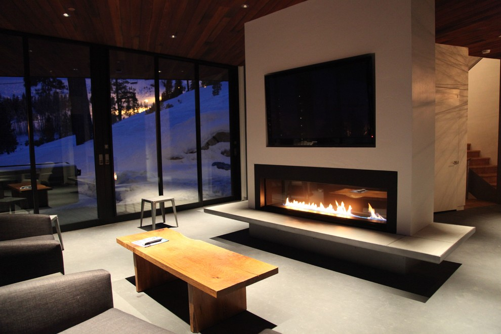 Electric Fireplace Mantels Family Room Contemporary with Accent Chairs Concrete Floors Fireplace Fireplace Mantel