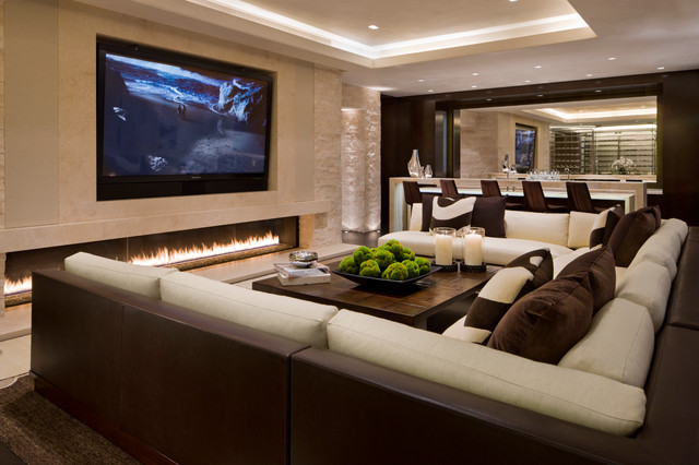 Electric Fireplace Media Console Family Room Contemporary with Bar Chocolate Brown Cream Ivory Linear Fireplace Long Fireplace