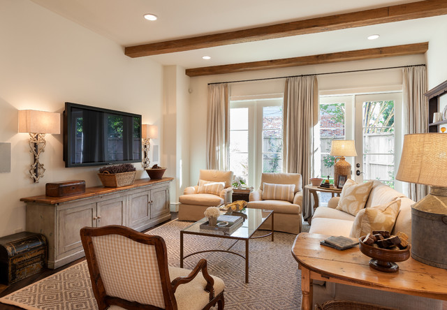 Electric Fireplace Media Console Family Room Traditional with Beige Armchair Beige Curtains Beige Side Chair Beige Sofa