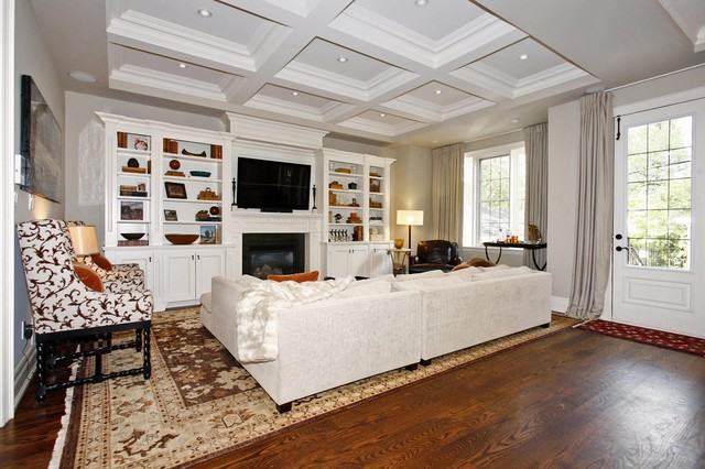 Electric Fireplace Media Console Living Room Traditional with Area Rug Baseboards Built in Shelves Ceiling Lighting Coffered