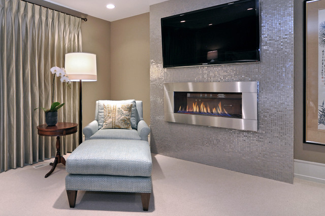 Electric Fireplace Tv Stands Bedroom Transitional with Barbara Barry Carpeting Chaise Fireplace Floor Lamp Glass Tile