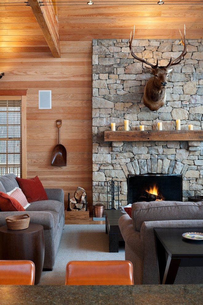 Electric Fireplace with Mantel Family Room Rustic with Beadboard Black Coffee Table Cabin Fireplace Gray